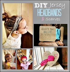 Tutorial for adorable DIY Jersey Headbands and Scarves.  also cute packaging ideas for giving them as gifts( The Creativity Exchange}