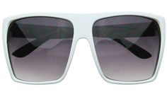 Oversize Sunglasses in White | $10.99, RetroCitySunglasses.com White Sunglasses, Oversized Sunglasses, White Lenses, Eyewear, Drop, Big, Polyvore, Accessories, Fashion