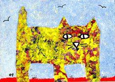 the morning rounds e9Art ACEO Cat Outsider Folk Art Brut Painting Miniature Original OOAK