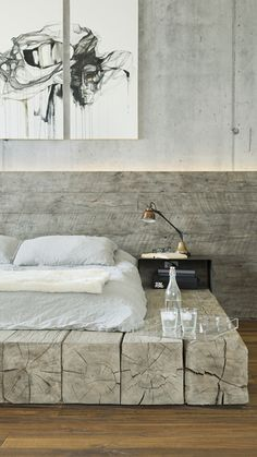 Marine Loft is a s. residential loft space located at the corner of Main and Marine Street in Santa Monica. Rustic Bedroom Design, Wood Bedroom, Bedroom Bed, Dream Bedroom, Home Decor Bedroom, Modern Bedroom, Bedrooms, Loft Interiors, Rustic Bedding