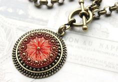Czech Glass Necklace, Red Necklace, Christmas Red w Handpainted Gold, Christmas Gifts, Button jewelry by veryDonna