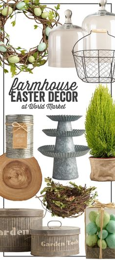 Beautiful Farmhouse Easter Decor. Get the look at Cost Plus World Market. ad #WorldMarketTribe