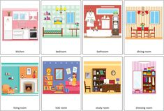 Parts of the House Flashcards Vocabulary Cards, English Vocabulary, Hello Song For Kids, Printable Flashcards, Rainbow Pages, Kids Part, Paint Your House, English House, House Of Cards