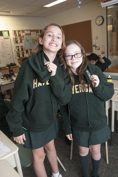 Grade 6 students are excited to have their new Grade 6 Grad hoodies, which can be worn as part of their official uniform!