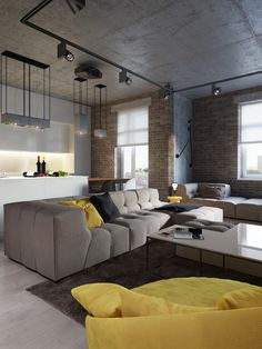 concrete-ceiling-design beton Mellow Yellow: 7 Soothing Apartments with Sunny Accents Colorful Interior Design, Colorful Interiors, Modern Interiors, Contemporary Interior, Home Interior, Interior Architecture, Scandinavian Interior, Bathroom Interior, Appartement Design