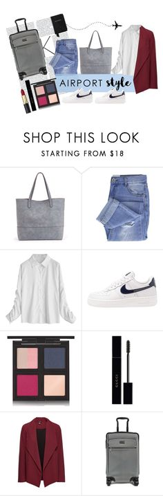"""""""Untitled #183"""" by uaresobeautiful ❤ liked on Polyvore featuring Sole Society, Taya, NIKE, The Body Shop, Gucci, Tumi, Aspinal of London and airportstyle"""