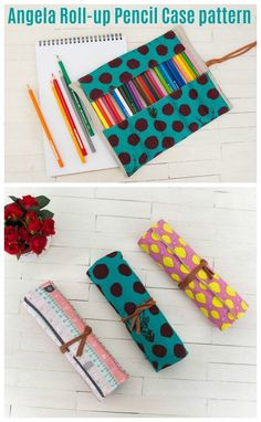 Sewing pattern for a roll up pencil case. This easy to sew roll up storage case is ideal for storing arts and crafts supplies such as pens, pencils, crayons, crochet hooks and even cosmetic brushes. This DIY brush roll to sew works for students, kids and busy moms. Craft storage ideas to sew. #SewModernBags #SewABag #BagSewingPattern #SewAPencilCase #PencilCaseSewingPattern #QuickSewingPattern #EasySewingPattern #BeginnerSewingPattern