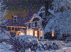 """Nine-color linocut print of a Vermont house in falling snow at night, entitled """"Quiet Night""""."""