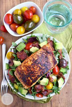 BBQ Salmon BLT Salad | Iowa girl eats  Dinner lunch