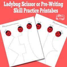 Ladybug Scissor or Pre-Writting Skill Practice Printab