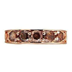Vintage 5 Stone 1.00ct Natural Brown Diamond 14k Pink Gold Size 6 Ring