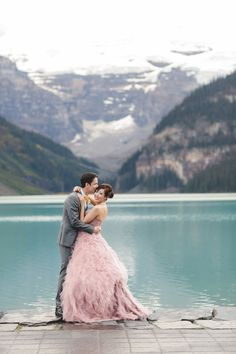 Lake Louise Wedding Photographers Cau Blush Pink Dress
