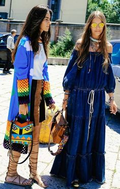 Add pops of color to a denim maxi dress | Spring 2017 Milan | Girlfriend is Better