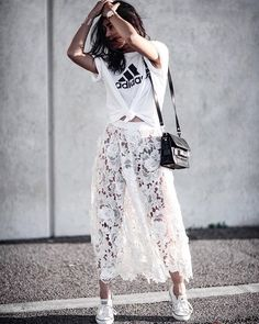 A Knotted T-Shirt, a Midi Skirt, and Sneakers