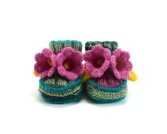 Hand Knitted Baby Booties with Crochet Bell Flowers - Green and Pink,  0 - 6 months