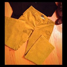 """PRICE REDUCTION  JCrew Favorite Fit Cords These wider leg corduroy trousers from J. Crew are in the Favorite Fit style, and are a cotton spandex blend in size 10 petite (30"""" inseam). They are Burnished Olive, a great color J. Crew carried for several years, and look more mustard yellow in incandescent lighting, but read more bright olive/green in florescent light (see pics 3&4 next to a CFL bulb). These are in excellent condition, without wear or condition issues, I only wore them a handful…"""