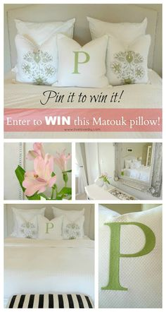 Want to Win One of MATOUKS Luxurious Logotype Pillows? Starting now through April 18th, follow this pin and enter for a chance to win a Matouk Logotype Pillow. Enter for a chance to win it and PIN IT for even more chances to win!