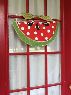 Burlap Watermelon Door hanger with polkadots and by Burlapulous, $28.00