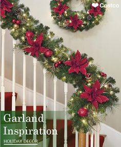 It's time to deck the halls, the entryway – even the banister – with a design worthy of celebrating. This festive red and gold garland is just the ticket. Each hand-decorated garland is 9-feet in length and glows with 90 plug-in, warm-white LED lights. Connect up to 30 garlands for a dramatic, sweeping effect.