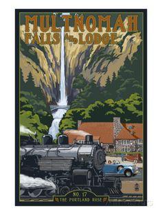 Multnomah Falls - Train and Cars Posters at AllPosters.com