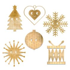 From Danish Studio Arhoj, these laser cut ornaments are crafted from brushed brass that will develop a unique, rustic patina and character of their own. Dimensions: Ranges between - - 9 cm) Made of brushed Brass Christmas Ornament Sets, Christmas Decorations, Australian Christmas, Holiday Crafts, Holiday Decor, Scandinavian Christmas, Xmas Tree, Studios, Kids Rugs