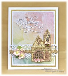 I have one last share today made using the fab Tudor Town dies from Tonic Studios. This time I've used the George & Dragon and made it into a church for a wedding card. George & Dragon, Tonic Cards, Rhodes, Tudor, Wedding Cards, Claire, Stamps, Posts, Blog