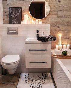 Biel, drewno i ciemne akcenty bardzo tak - na górę? Small Bathroom Layout, Wc Bathroom, Bathroom Design Inspiration, Modern Bathroom Design, Home Office Decor, Home Decor Bedroom, Ikea Interior, Bathroom Storage Solutions, Portable House