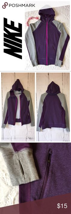 """Nike zip up hoodie S Heather grey & purple. Zip up hoodie. 2 zip pockets. Thumb holes. Gently used.  Top of shoulder to hem: about 24 1/2"""" Pit to pit: about 18"""" when zipped. Nike Sweaters"""