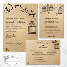 Wedding Invitation Suite, Apple Tree With Birdcage Editable Wedding Invitation, Response Card and Thank You Card Templates. $39.95, via Etsy.