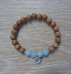 beachcomber yoga by the sea sandalwood crystal healing bracelet    beautiful 8mm aromatic sandalwood beads, aqua amazonite beads and a sterling