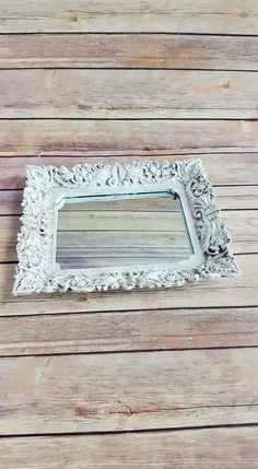 Framed Mirror Dresser Top Tray Antique White By Craftymcdaniel