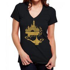 Disney Castle Aladdin Lamp Black V Neck Shirt by ShineDesignsTees