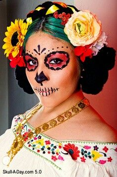 Day of the Dead makeup without the white base.