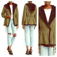 NWT Free People Peplum Jacket sz XS NWT Free People Peplum Jacket sz XS, attached hood with front button closure. 2 chest patch pockets, drawstring at waist for adjustable fit, peplum hem, raw cut contrast trim. Approx 29 inches in length. Make an Offer! Free People Jackets & Coats