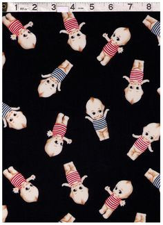 HALF YARD Kewpie Doll on BROWN Blue Pink and Red by fabricsupply