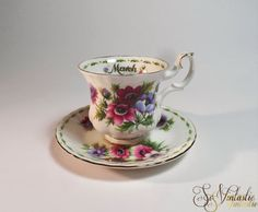 Royal Albert cup and saucer set Flower of the month by SoVintastic