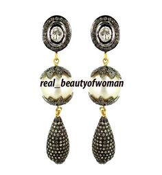 Vintage Victorian 3.38cts Rose Cut Diamond Pearl Silver Awesome Earrings Dangle #realbeautyofwoman #EarringsDangle