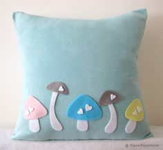 Adore the idea of felt designs stitched on to fit a theme. | Love Mushrooms Soft Teal And White Pillow Cover. Woodland Charm. Nursery Decor.