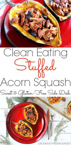 This easy baked stuffed acorn squash recipe will quickly become your favorite healthy holiday side dish, especially for Thanksgiving and Christmas! Soup Recipes, Whole Food Recipes, Vegetarian Recipes, Chicken Recipes, Healthy Recipes, Potato Recipes, Casserole Recipes, Crockpot Recipes, Free Recipes
