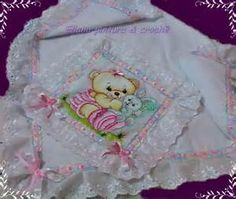 mantas de bebe bordadas - Bing Imagens Hobby, Chic, Baby Things, Embroidered Baby Blankets, Needlepoint, Dots, Paintings, Bed Drapes, Shabby Chic