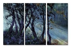 'Peaking Rays' by Pol Ledent 3 Piece Original Painting on Metal Plaque Set