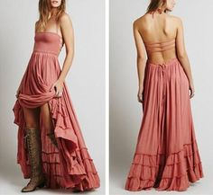 Boho Maxi Dress Wood Rose Pink Halter Gown Size Medium Long Strappy Backless Gauze Gypsy Dress Smocked Front Adjustable Waist Triple Tiered Hem