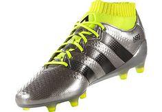 b1f8a5022 adidas ACE 16.1 Primeknit FG Soccer Cleats - Silver Metallic & Core Black -  SoccerPro.com