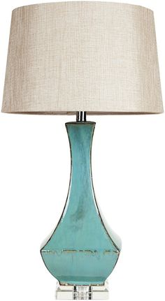 Style with Belhaven Ceramic Table Lamp Blue and add a stunning and colorful glossy glaze turquoise base with a neutral linen shade Coastal Living, Coastal Decor, Coastal Style, Ceramic Table Lamps, Lamp Table, Desk Lamp, Outdoor Light Fixtures, Outdoor Lighting, Bedroom Lamps
