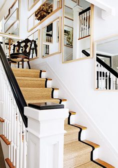 Decorating Ideas for Your Home's 5 Smallest Spaces// staircase design, runner, mirrors