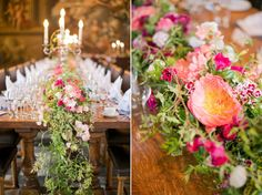 Floral garland table décor  | Photography by http://caughtthelight.com