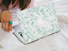Flower Macbook Decal Mint Green Watercolour by LaurenbyDesign
