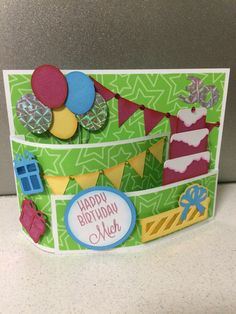 Birthday Bendy card. Card base from Silhouette store.