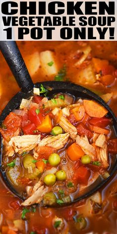 Vegetable Soup With Chicken, Vegetable Soup Recipes, Chicken Soup Recipes, Healthy Soup Recipes, Cooking Recipes, Beef Recipes, Chicken Vegtable Soup, Easy Recipes, Italian Chicken Soup