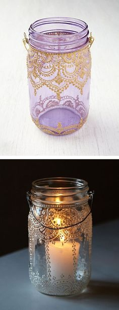 DIY handpainted mason jar lanterns- this is a link to someone that sells these painted jars. Would be cool to make your own, use in one of the hanging lights made with mason jars! Mason Jar Projects, Mason Jar Crafts, Mason Jar Diy, Mason Jar Lamp, Purple Mason Jars, Lace Mason Jars, Mason Jar Lanterns, Candle Jars, Kilner Jars